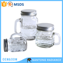 Eco-friendly 490ML Glass Mason Jar Storage Glass Bottle With Handle With Lids