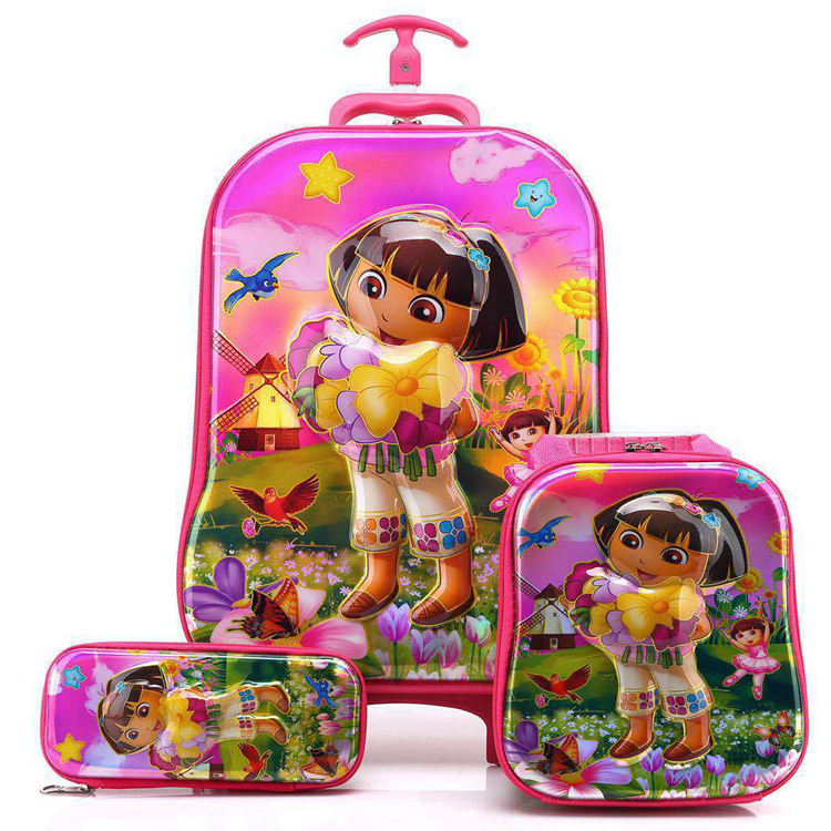 Wholesale Lovely Animine Cartoon Kids Rolling schoolbag set travel Luggage with lunch box pencil Bags For primary student