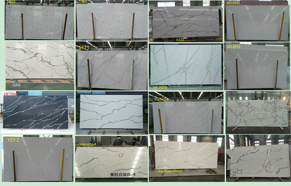 White Quartz crystal slab for kitchen