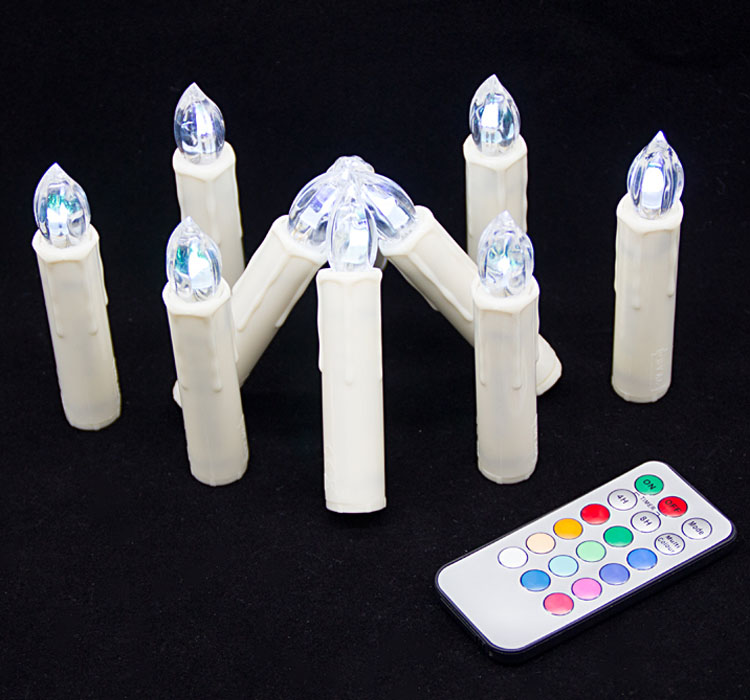 LCL-18K NEW wholesale Wireless remote control Christmas LED candle multi color led flameless candle RGB led candle hot in Amazon