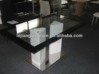 wooden tempered glass dining table design