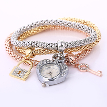 2018 New style fashion key lock owl anchor musical notes pendant braclet hear shape wrist watch women