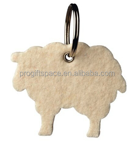 New products fashion wholesale alibaba animal shape key ring promotional gift craft polyester felt sheep keychain made in China