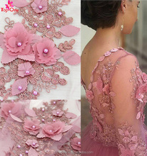 2017 factory wedding dress Pearls french lace fabric 3d flower beaded lace embroidered fabric