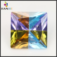 Best price of square glass gems stone multicolor cz