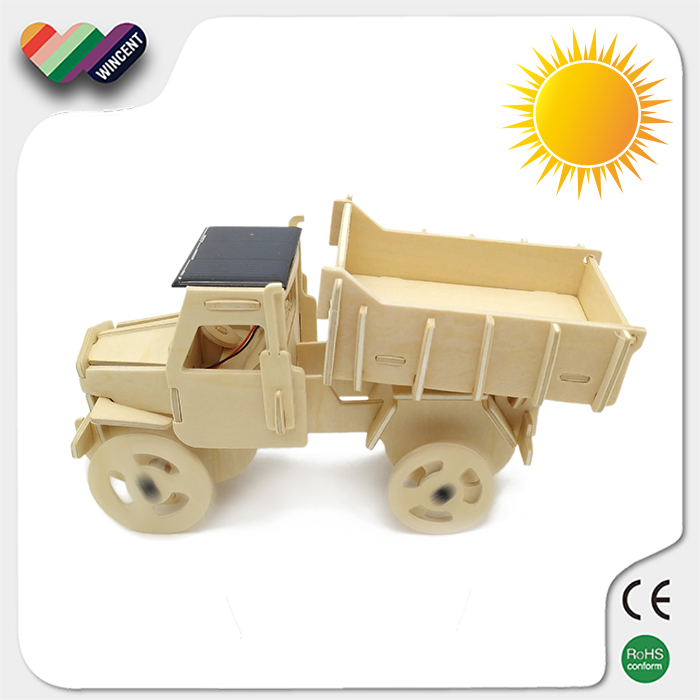 Wooden Solar Truck Children Toys Education 3D Puzzle