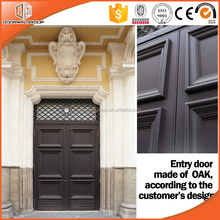 Customized special shape and arch entry door with grille design tempered glass made in China