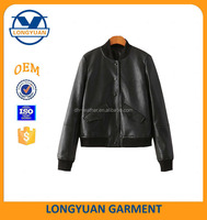 best selling black pu leather baseball jacket for girls