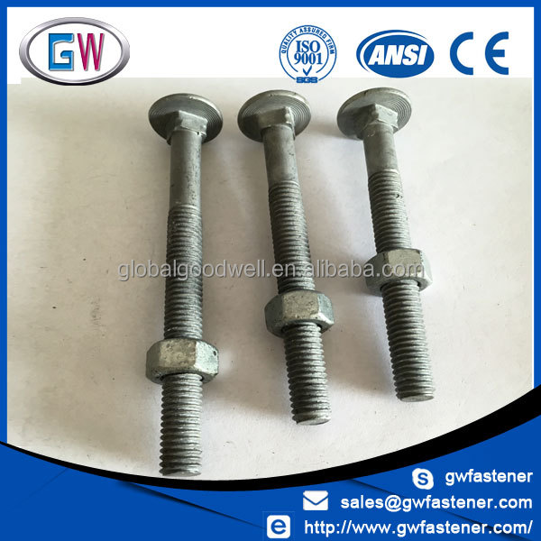 Galvanised m10 din603 round head square neck carriage bolts