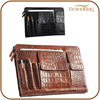 crocodile pattern leather portfolio case fashion travel document accessory business conference file folder laptop hand bag