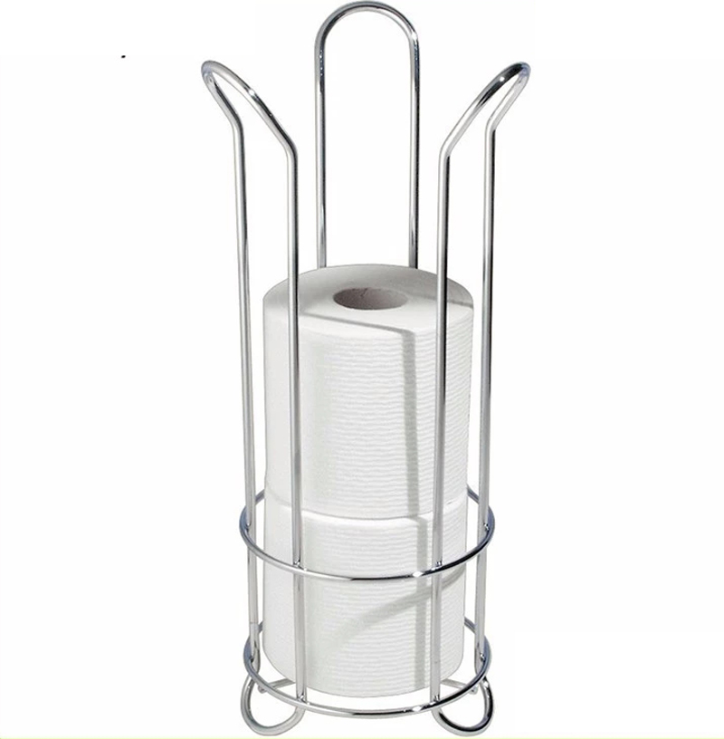 Free Standing Toilet Paper Holder Stand with Storage for 3 Spare Rolls of Toilet Tissue - for Bathroom/Powder Room Organization