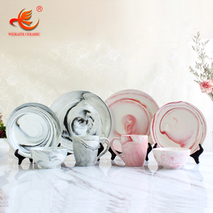 WKTDS01 wholesale 16 pcs Marble Look dinnerware fine bone china ceramic porcelain dinner set