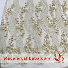 Venice embroidered floral gold beads stone lace fabric for wedding lace bridal elegant dress french guipure lace by the yard