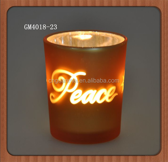Customer design glass tea cup candle holder