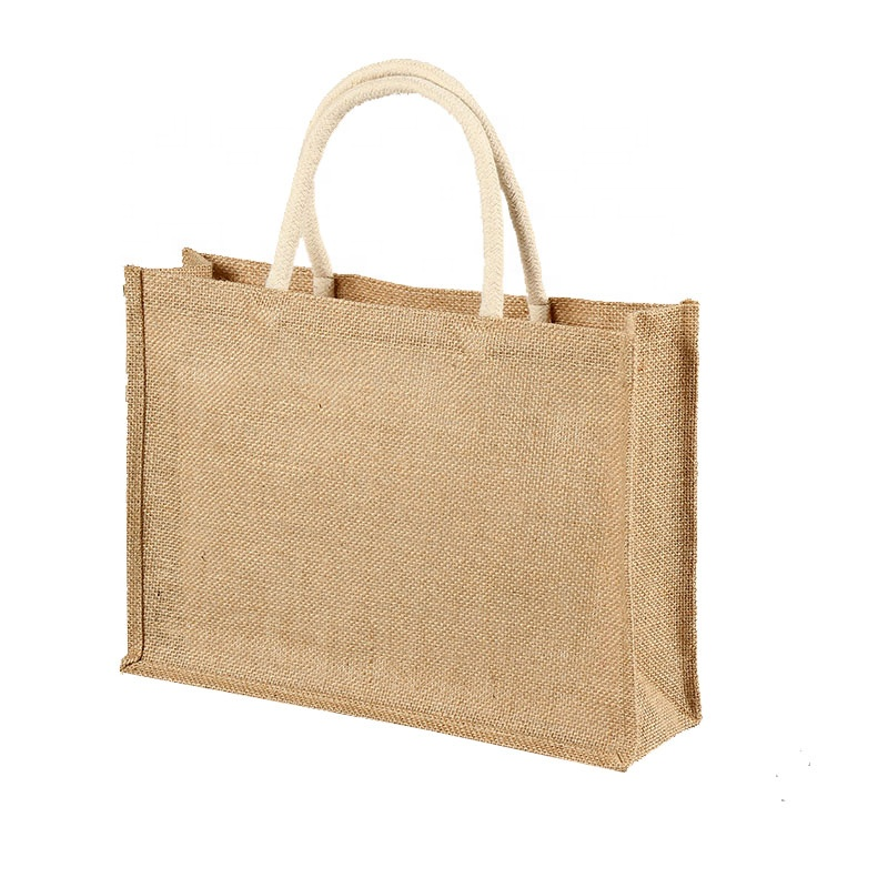 Natural Reusable shopping Totes Laminated Interior Full Gusset Jute Tote Bags for Ladies