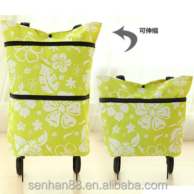 Eco friendly reusable trolley foldable shopping bag , foldable trolley bag