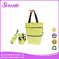 Wholesale foldable nylon shopping trolley bag with wheel, grocery folding shopping cart