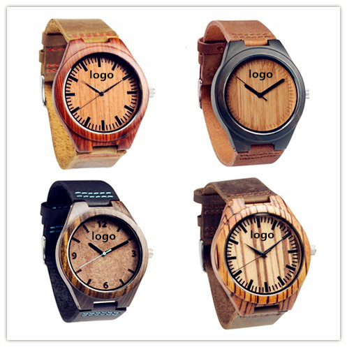 2017 Wholesale China Unisex Simple Vogue Top Branded Wooden Leather Quartz Wrist Watches