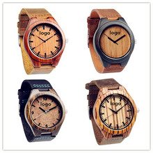 Wholesale China Unisex Simple Vogue Top Branded Wooden Leather Quartz Wrist Watches