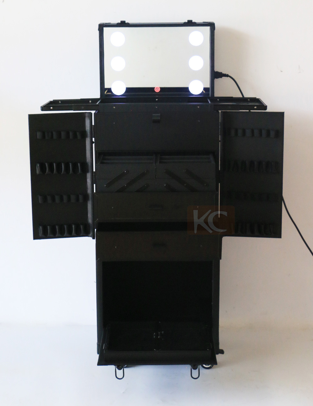 Aluminum Hair Scissors Organizer Box with Trolley and Plastic Drawers, Made of Black PVC Leather with trays and draws inside
