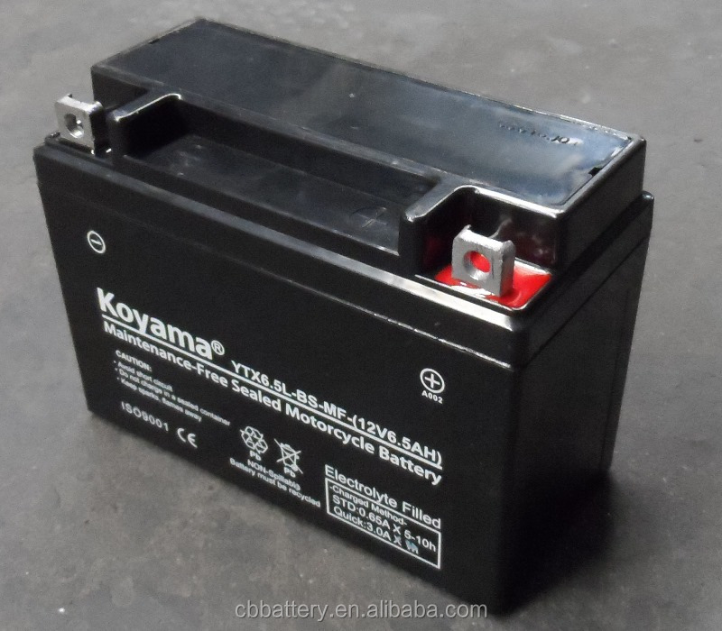 Maintaince free AGM battery lead acid battery 12V6.5Ah motorcycle battery YTX6.5L-BS/12N6.5L-BS/YB6.5L-BS