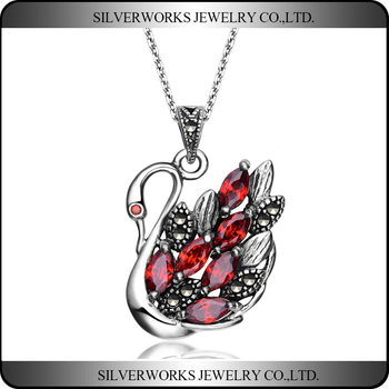 New Product Thai Silver Gemstone Jewelry Silver 925 Swan Pendant Necklace