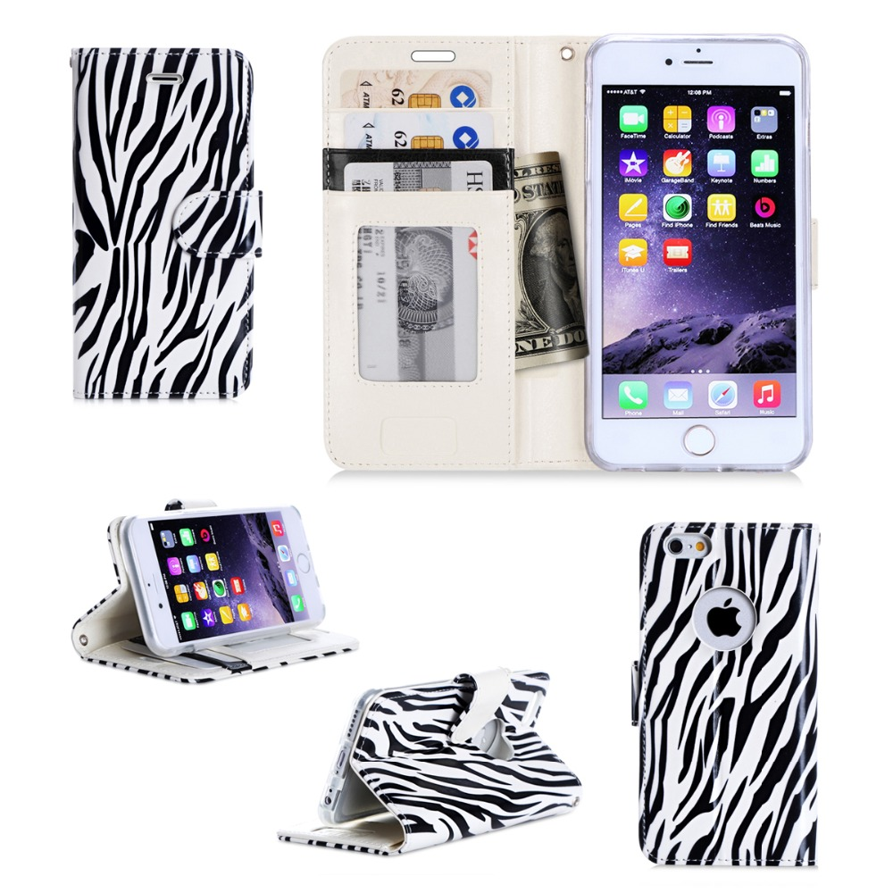 Super Thin Slim Zebra Printing Design PU Leather Flip Mobile Phone Case For iPhone 6s