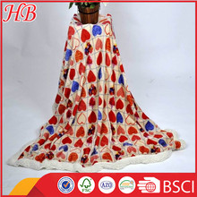 China supplier sweet-heart design printed cheap coral fleece blanket and cosy flannel fleece blanket