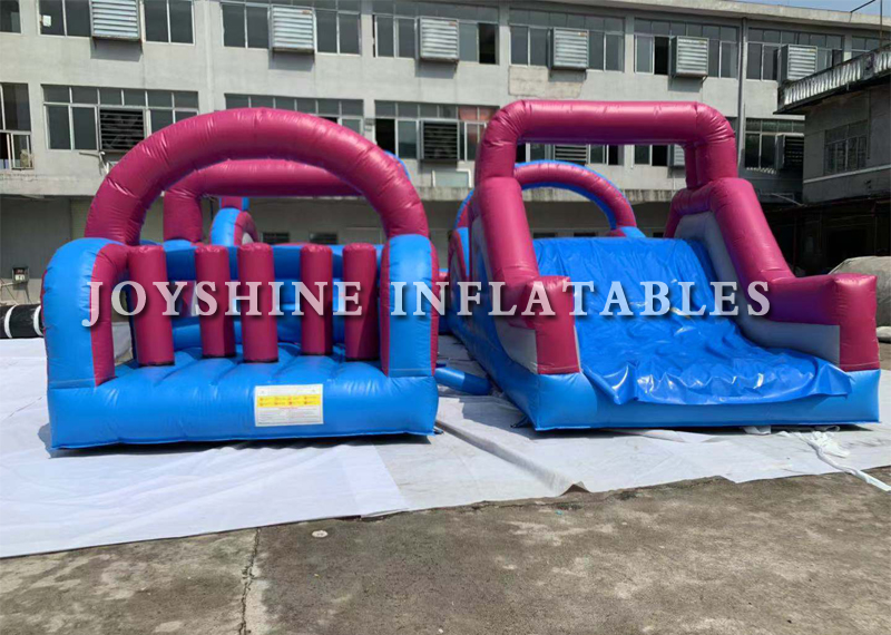 Blow Up Purple Inflatable Bounce Wipeout Race Run Tunnel Bouncy Kids Adult Racing Obstacle Course Inflatable Equipment For Sale