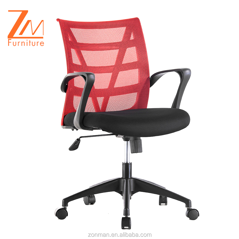 Traditional Style Red Ergonomic Full Mesh Chair with PP Arms