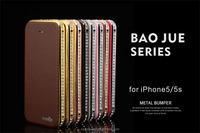 High quality diamond Metal Bumper Case With PU Leather case for Iphone 5s