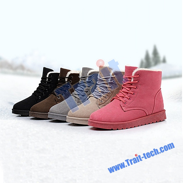 Snow Boots Size 38 EUR Lacing Winter Ankle Boots Women Snow Shoes