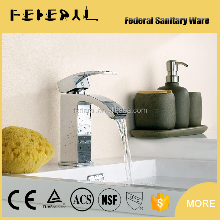 Glass waterfall faucet electric power bathroom basin faucet