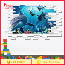 3D Self-adhesive Removable Break Through the Wall Vinyl Wall Sticker/dolphins Art Decals Decorator