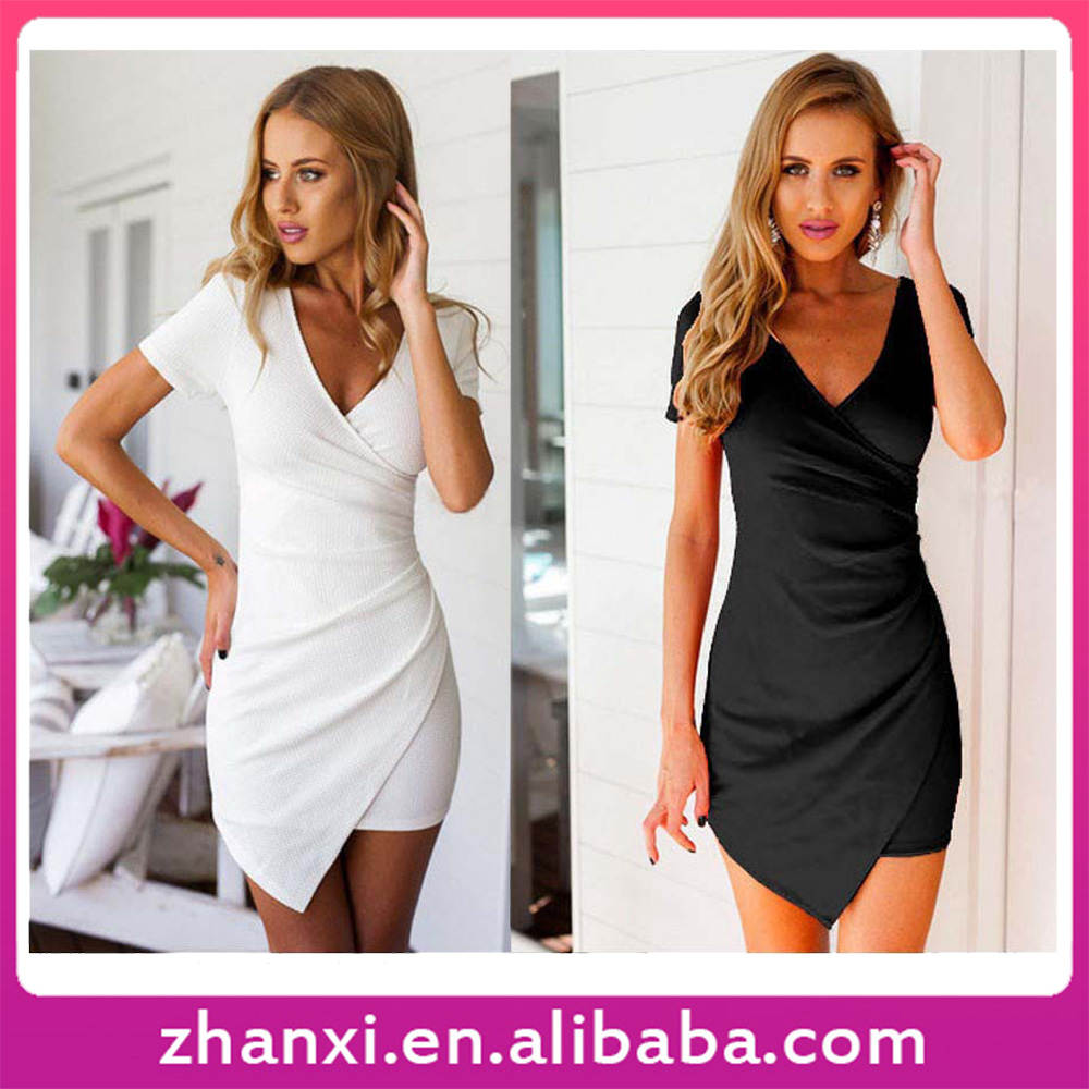 In Stock New Women Spandex Stretch Fabric Fit Short Sleeve Simple Design Frock for Ladies