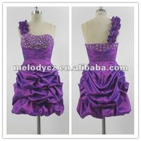 Purple bubble pleated cocktail appliqued belt latest dress designs for flower girls