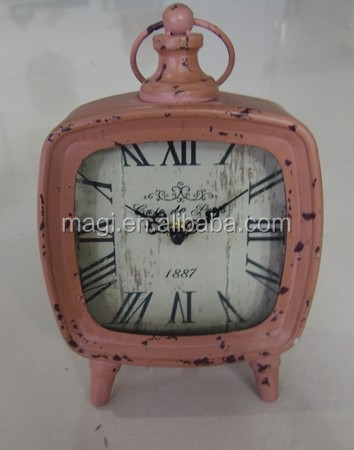 Pale Pink Metal Antique Table Clock