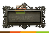 antique cast iron nameplate