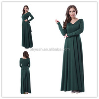 Fat lady gentle high quality long sleeve muslim evening dress