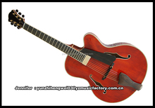 yunzhi handmade solid wood hollow body archtop electric guitar