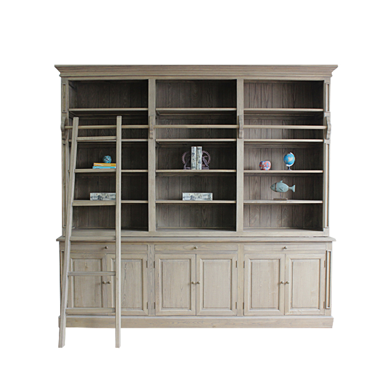 French style solid wood display library bookshelf bookcase furniture
