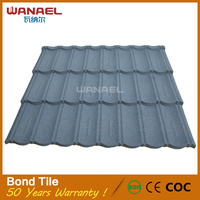 WANAEL stone chip coated steels roof tiles 50 years life-span cheap tile spain