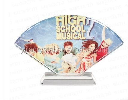 Sector Shape Blank Optical Crystal Glass Plaque with Blue Base for Corporate Gifts