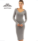 2017 High Quality Winter Fashion Women Sexy Custom Long Sleeve Pullover Tight Knitted Sweater Dress