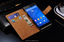 Quality pu leather wallet design cell phone case for Sony Z3