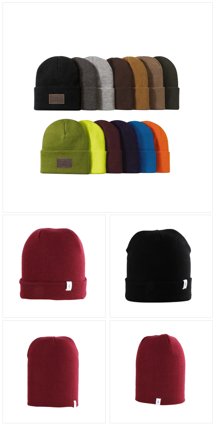 Wholesale Knit Beanie Custom Label Beanie Promotional low price plain knitted embroidery logo beanie