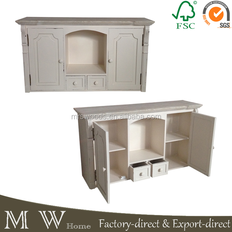 MW Home french vintage shabby chic pine MDF painted cream 2 door 2 drawers cupboard storage wooden kitchen wall hanging cabinet