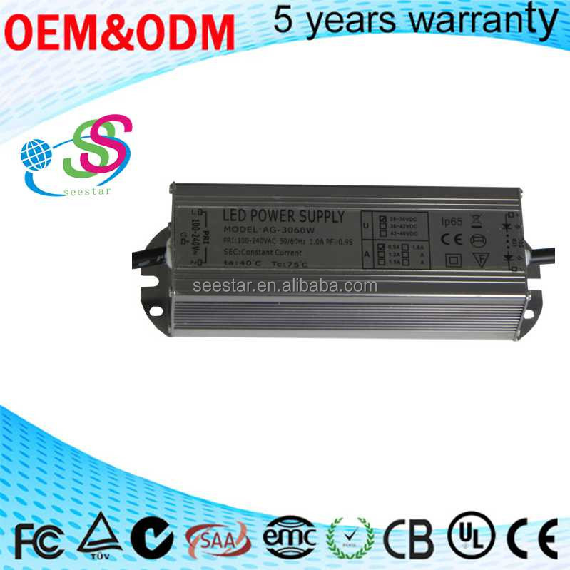 Shenzhen Factory Constant current single output DC 28-36V 900mA 30W 60W ac/dc IP65 Waterproof LED Driver Power supply
