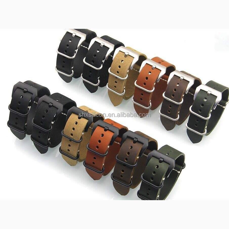 supply PVD hardware thin leather nato watch straps and zulu watch straps manufacturer