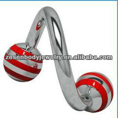 Cheap red titanium tropical spiral navel banana ball body piercing jewelry